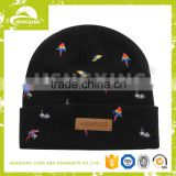 Acrylic small order accept leather patch/label knit beanies