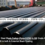 ASTM A-106 Seamless Steel black carbon pipes Grade A SCH 80 Beveled 30 degree in both & Extemal black coating
