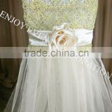 YHC#152 gold fancy luxury chemical lace tulle tutu satin flower chiavari chair back cover                                                                         Quality Choice