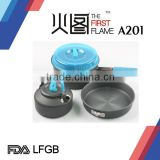 Hard anodized Aluminium camping cooking pot set LFGB FDA with stainless steel handle A201