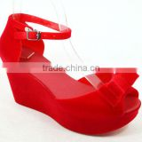2014 PVC high heel shoes with bow butterfly flocking new hot sale jelly sandal