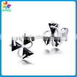Bulk knot black stone new model stud earring