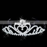 New shaped full round rhinestone and pearl metal works kings crowns for sale