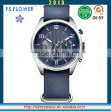 FS FLOWER - 22mm Genuine Leather Nato Strap Fashion Sports Men Watch Stainless Steel Case