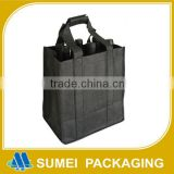 Hot selling cheap eco-friendly promotional non woven 6 bottle wine bags with plain handles