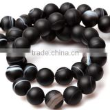 10mm natural round black banded matte agate loose beads for sale