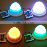 Light up round rechargeable battery powered led light base