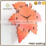 creative maple leaf mute hanging decorative wall watch