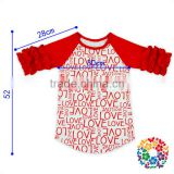 Boutique Baby Half Sleeve LOVE Printed Valentine Raglan Wholesale Icing Girl Ruffle Raglan T Shirt