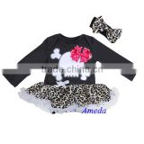 Baby Black Leopard Skull Hot Pink Bow Long Sleeves Bodysuit Pettiskirt and Headband NB-18M
