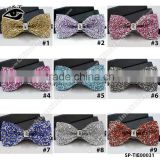 Luxury Glitter Rhinestones Bow Ties Vintage Ties for Men's Wedding Dress with Gift Box 12x6cm