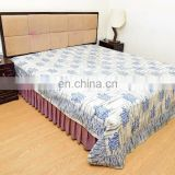 Indian Latest Hand Block Print Bedsheet Turtle Design Cotton Bed Sheet King Bedspread Gray Bedding Throw
