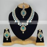Western Designer Beautiful Pearl Crystal Turquoise Stone Gold Plated Wedding Collection Kundan Zerconic Necklace set