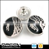 Shiny Silver Black Painted Basketball Elements Sport Decorative Metal Snap Fastener Snap Press Button for Garment Jacket Blazers