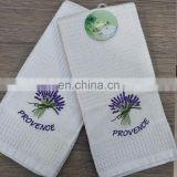 China suppliers 100% cotton embroidery waffle kitchen tea towel