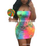 European and American hot style 2020 summer new women's fashion tie-dye suspender dress
