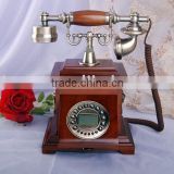 wooden retro telephone with rotary dial key