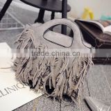 Wholesale leather tassel fringe bag girls pu tote handbags shoulder aslant female women bags