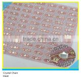 24*40 cm Metal Mix Crystal Beads Hotfix Glue Sheet Crystal Heart Shape