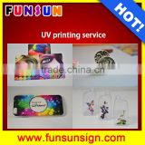 Acrylic, PVC,glass, leather, marble,metal, wood, bottle printing services by A3 UV flatbed printer 1440dpi