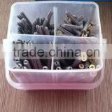 Metal wood screw with wall plug set plastic box packing