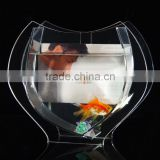 customized different shape design desktop mini clear acrylic fish aquarium tank,fish bowl with back picture photo display frame                                                                         Quality Choice