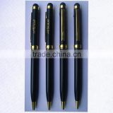 black color golden parts metal stylus touch ball pen for promotional gift