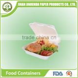 Disposable tableware 8 inch lunch Clamshell food container with sugarcane pulp.