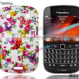 Gel TPU Back cover Flower Printing Rubberized Case for BlackBerry Bold 9930 9900