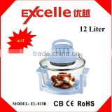 12L electric halogen convection microwave oven with heat-resistant glass temperature adjustment timer safety switch-off