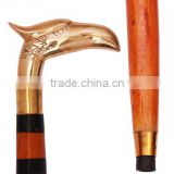 Wooden Hand Craved Jogging & Walking Stick-cane Antique Looking Eagle Faced Statue Brass Handle