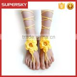 V-996 Crochet dance leg chain ankle bracelet indian foot jewelry beach bridal foot Jewelry handmade bracelet anklet chain