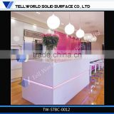 Pink inside lighting L-shape solid surface nail bar tables