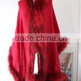 Deluxe Red Raccoon Fur Hood Cashmere Like Cape Scarf Autumn And Winter Fur Trim Pashmere Shawl Poncho