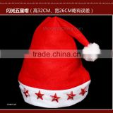 LED Light Christmas Hat Flashing Hat Santa Cap Christmas Decorations Five-star Electronic Lamp Cap star light Christmas Hat