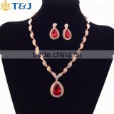 Red Charm Rhinestone Crystal Bridal Fashion Water Drop Pendant Earings Bracelet Necklace Ring Jewelry Set