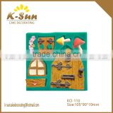 K-sun wooden bark brick door house window marshroom fondant cake decorating molds silicone reposteria