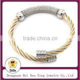 China Good Manufacturer Wholesale High Quality 316L Stainless Steel Wire Cable Cuff Bracelet With Bangle Design For Mens Gift