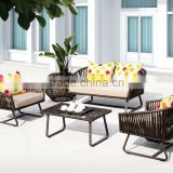 Resin wicker rattan sofa set -poly rattan outdoor furniture sofa set (1.2mm thickness alu frame, high quality wicker furniture)