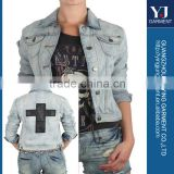 DOUBLE CROSS DENIM LADIES JACKET soft and spandex fabric good price high quality