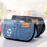 New creative jean shorts pencil case big capacity zipper pencil bag school supplies student stationery cosmetic bag