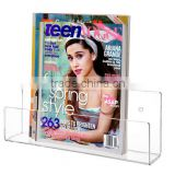 Modern Clear Acrylic Wall Mounted Magazine & Brochure Display Rack / Children's Book Holder (MR-B-0231)