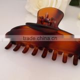 Best quality deluxe women hair jewelry french tortoise hair clamp brown plastic claw clip