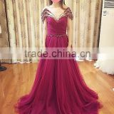 2016 Beading Pearls Custom Made robe de bal Evening Wear Off the Shoulder Wine Red Prom Dresses CWFp2318