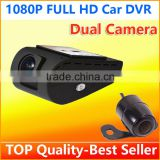 Factory Wholesale top quality Dual camera Double Lens car cam corder DVR video camera 1080p with 2.7 inch TFT LCD display