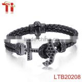 new viking anchor bracelet Braided Leather Bracelet for Men 316l stainless steel clasps for bracelet 3A zircon inlay
