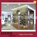 Custom store floor standing 3 tier shoe rack designs wood/shoe display shop/double-side shoe display rack