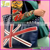 Fantastic Punk Style Women's Handbag Black Rivet UK Flag Leather Bag Wholesale
