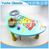 wooden musical percussion instruments blue moon shape table xylophone drum symbol Noisy /educational wooden toy/