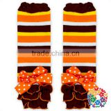 Brown Yellow Orange White Stripe Leg Warmers Baby Girl Leg Warmers Socks With Bows
